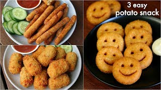 3 easy potato snacks recipe for kids | potato fingers, potato nuggets, potato smiley recipe