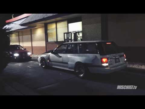 RHD Subaru Legacy Wagon Wide-Body Reverses Through Drive-Thru