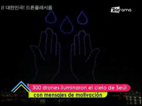 300 drones iluminaron el cielo de Seúl con mensajes de motivación
