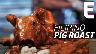 Stuffed Roast Pig with Longganisa Sausage at Jeepney's Kamayan Night — Deconstructed by Eater