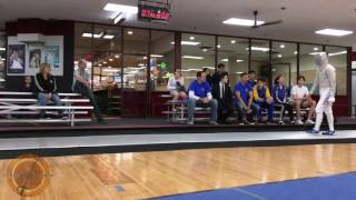 This is the Gold Medal bout at the Jeff Wolfe ROC at Mission Fencing Center in Rocky Point, Long Island. Brian Kim is on the right and Ivan Lee is on the left