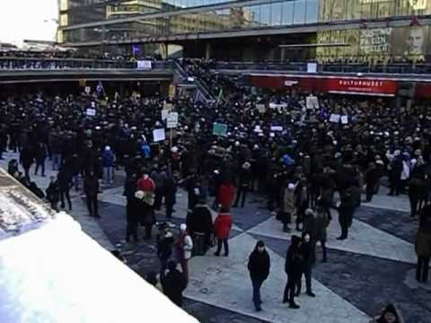 Swedish Pirate Party - Swedish Pirate Party demonstration against ACTA, at Sergels Torg in Stockholm, Sweden 2012-02-04, part 3.