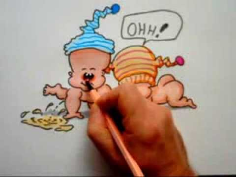 Lustigen Baby Cartoon zeichnen und Colorieren. Baby Comic draw and painting to color, speedpainting,