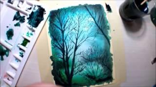 Watecolor Art #2 - Blue Forest (Timelapse)