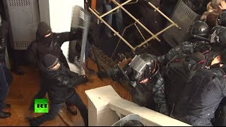 Download Video Violent video: Ukraine rioters brutally beat police, storm local admin building MP3 3GP MP4