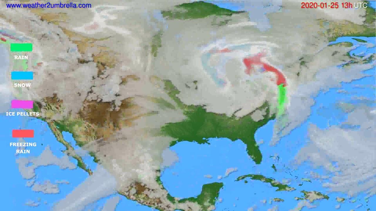 Precipitation forecast USA & Canada // modelrun: 12h UTC 2020-01-24
