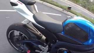 4. 2011 GSX-R 750 M4 GP EXHAUST NO BAFFLE-CAT DELETE-MJS MID PIPE- ECU FLASH-DRIVE BY @ 6:50