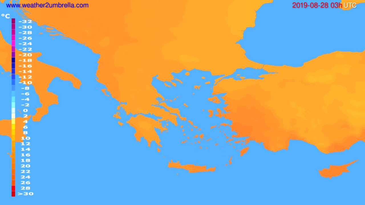 Temperature forecast Greece // modelrun: 00h UTC 2019-08-25