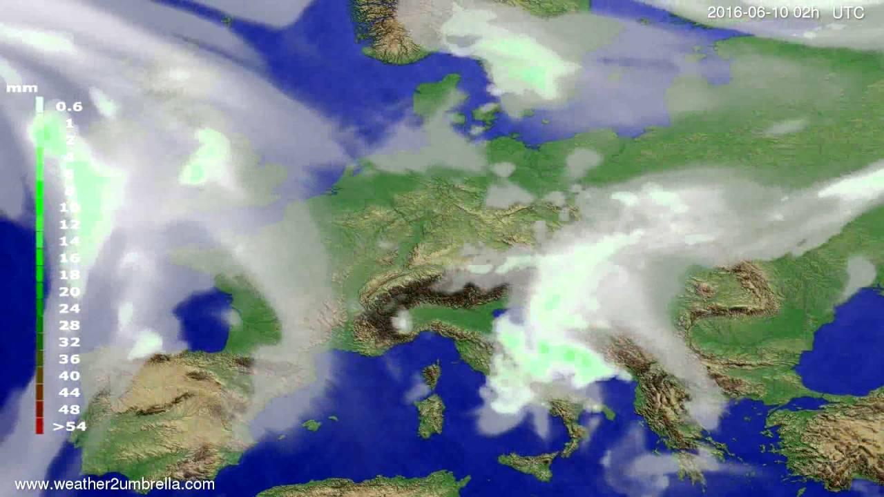 Precipitation forecast Europe 2016-06-06