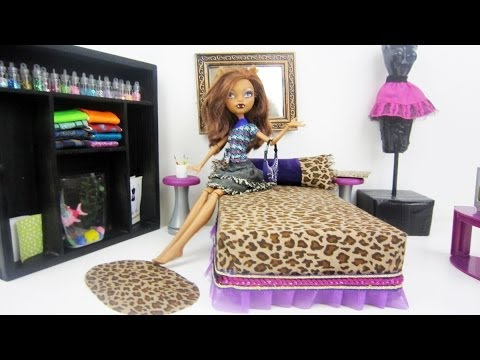 Monster High Tutorial: Clawdeen Wolf Doll Bed - Recycling