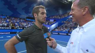 France's Richard Gasquet on court interview after defeating the USA's Jack Sock in three sets at the Mastercard Hopman Cup Final 2017