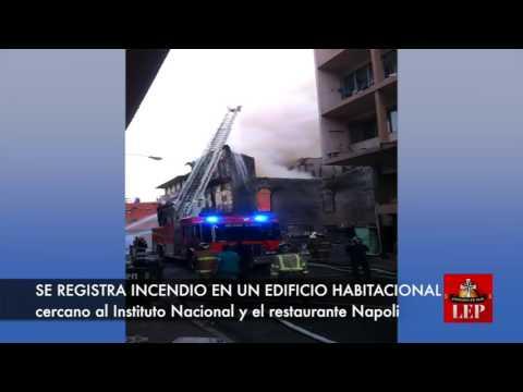 Se registra incendio en edificio cerca de calle Estudiante .
