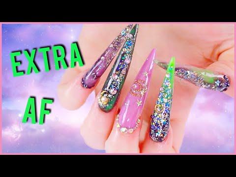 Acrylic nails - Long af extra mystical nails
