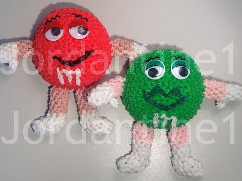 New Amigurumi Loomigurumi M&M – Rainbow Loom – Rubber Band Crochet – Hook Only