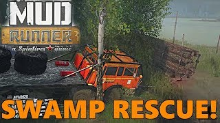 SpinTires Mud Runner Mods: Highwater Map, FINALLY A RESCUE!!