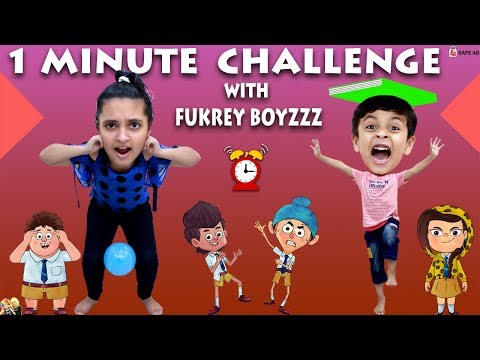 1 MINUTE CHALLENGE with Fukrey Boyzzz Girl vs Boy #Funny Aayu and Pihu Show