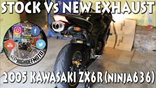 9. 2005 Kawasaki ZX6R - Stock Vs New Exhaust