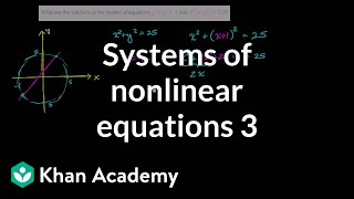 Systems of nonlinear equations 3 | Systems of equations and inequalities | Algebra II | Khan Academy