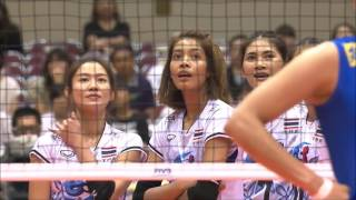 BRA – THA 0–3 (22-25, 21-25, 27-29) Thai players enjoy their surprising victory with a dramatic finale, after Adenizia conceals her ...