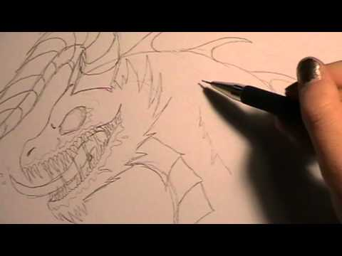 Tutorial – drawing a zombie dragon / Zombiedrache Zeichnen