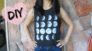 DIY: Brandy Melville Moon Phase Shirt - YouTube