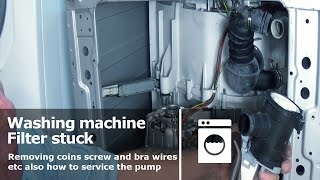 http://www.how-to-repair.com/help/how-to-open-washing-machine-filter-that-is-stuck-or-jammed/If your washing machine filter will not come off then there is a high chance that there is a blockage in the actual pump,  this video  will show you a technique  for removing the filter without damaging it,  it will also show you how to service the pump while you have it apart