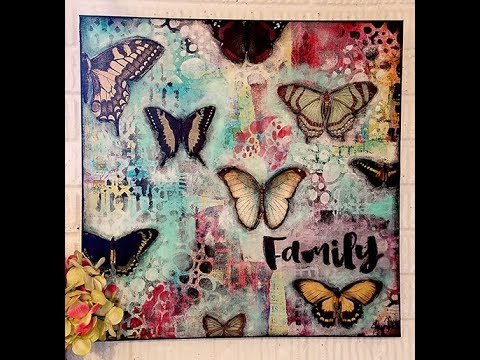 Family quotes - large abstract with vintage butterflies