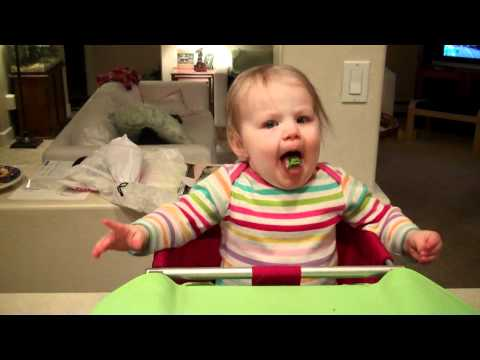 Baby's first broccoli - gagging baby