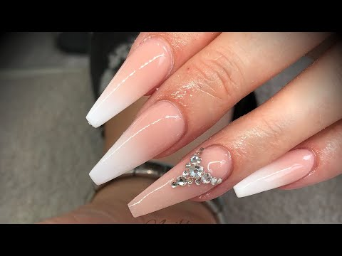 Acrylic nails - white fade/ombré/baby boomer with swarovski crystals