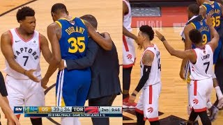 Kyle Lowry and Danny Green tell fans to stop cheering as Kevin Durant walks off with an injury