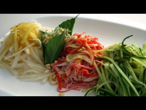Korean Recipe: Korean Cold Salad with Cucumber, Pears and Crab and a Spicy Mustard Dressing – Gyeoja Naengchae – 겨자냉채