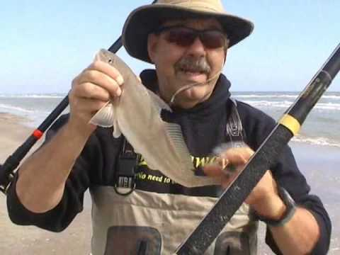 Catching Whiting and Red Drum from the Surf at PINS, TX – Feb 2010