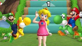 Mario Party 9 - Step it Up - Peach, Yoshi, Mario, Luigi Gameplay| Cartoons Mee