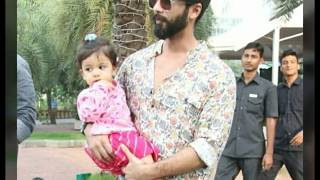 Shahid kapoor and Mira rajput snapped today at Narathai With Daughter Misha