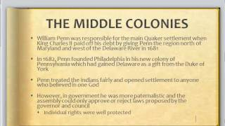 British Colonies:  The Middle Colonies