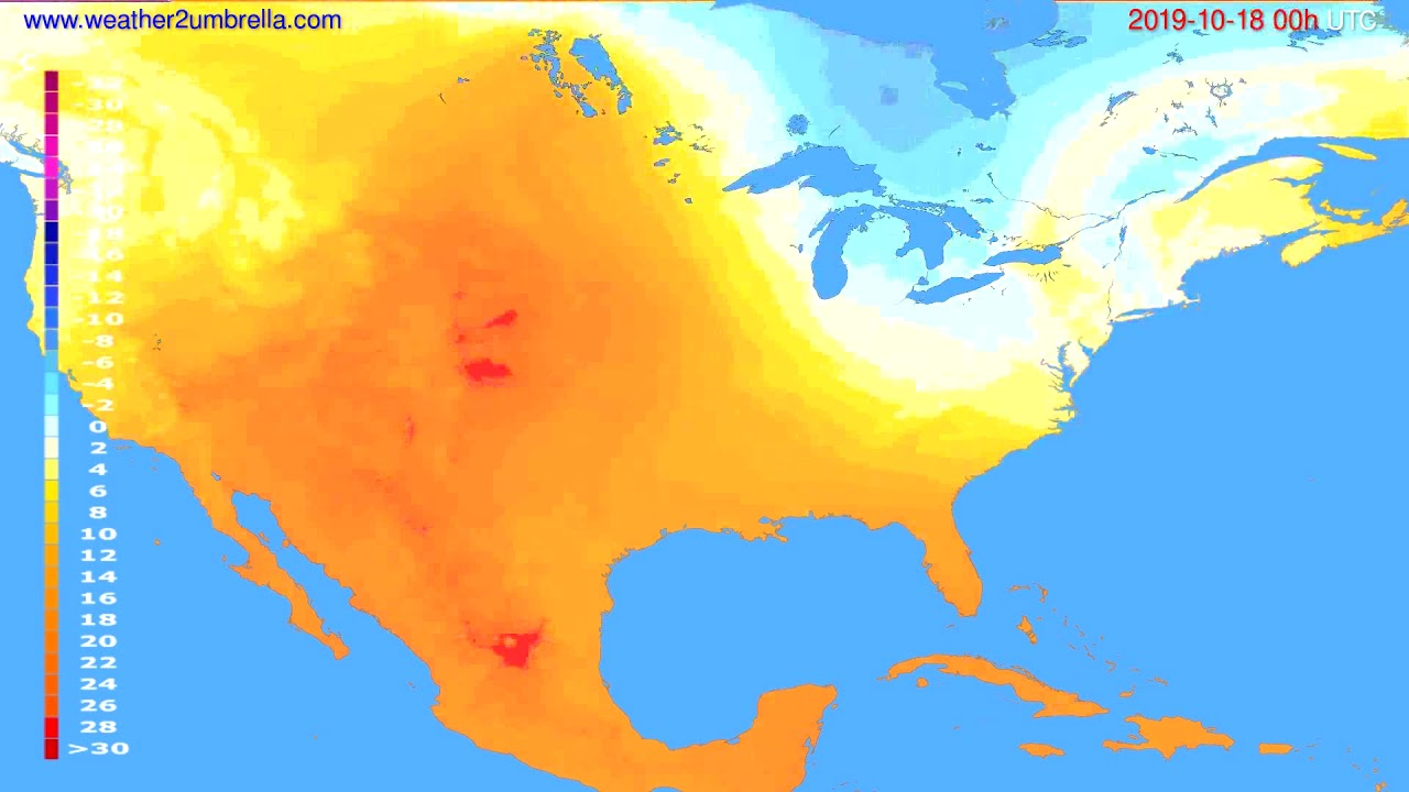 Temperature forecast USA & Canada // modelrun: 00h UTC 2019-10-17