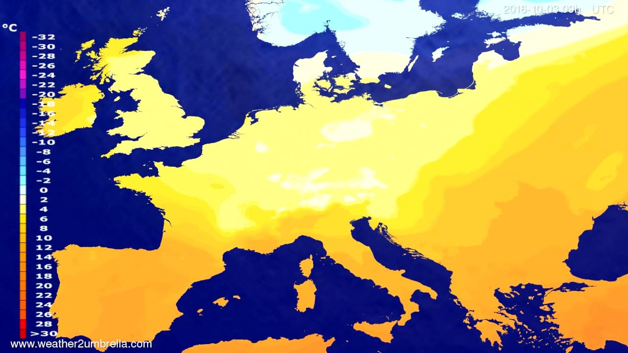 Temperature forecast Europe 2016-09-29