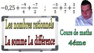 Maths 4ème - Les nombres rationnels Somme et Différence Exercice 28