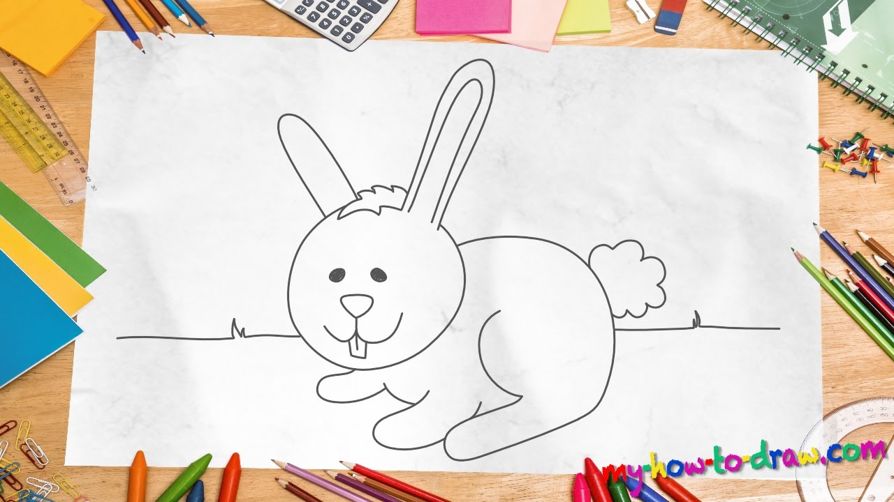 How To Draw A Rabbit Easy Stepbystep Drawing Lessons For Kids #c�modibujar  # Howtodraw How