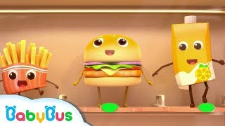 Hamburger And French Fries | Food Song, Color Song | Nursery Rhymes | Kids Songs | BabyBus