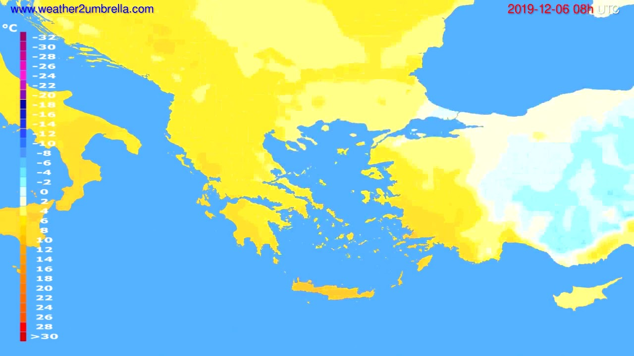 Temperature forecast Greece // modelrun: 00h UTC 2019-12-05