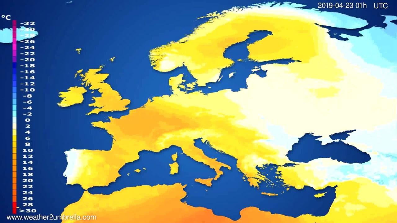 Temperature forecast Europe // modelrun: 00h UTC 2019-04-21