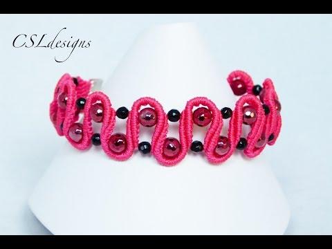 macramè - braccialetto ondulato con perline