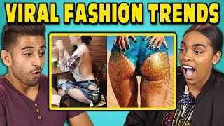 Video COLLEGE KIDS REACT TO VIRAL FASHION TRENDS (Glitter Booty, Clear Pants, Mud Jeans) MP3, 3GP, MP4, WEBM, AVI, FLV Juli 2018
