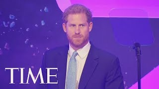 Prince Harry Appears Close To Tears During Speech About Meghan Markle & Baby Archie | TIME