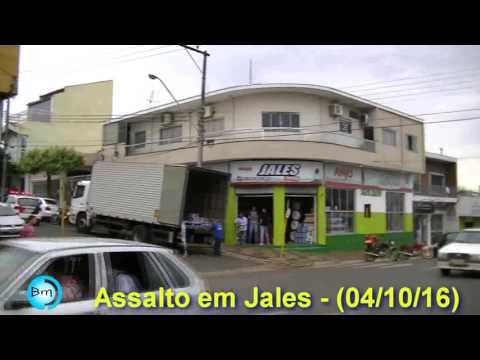 EXCLUSIVO - (vídeo) Assalto no centro de Jales nesta terça (04/10) movimenta Policiais Militares que prenderam dois assaltantes.