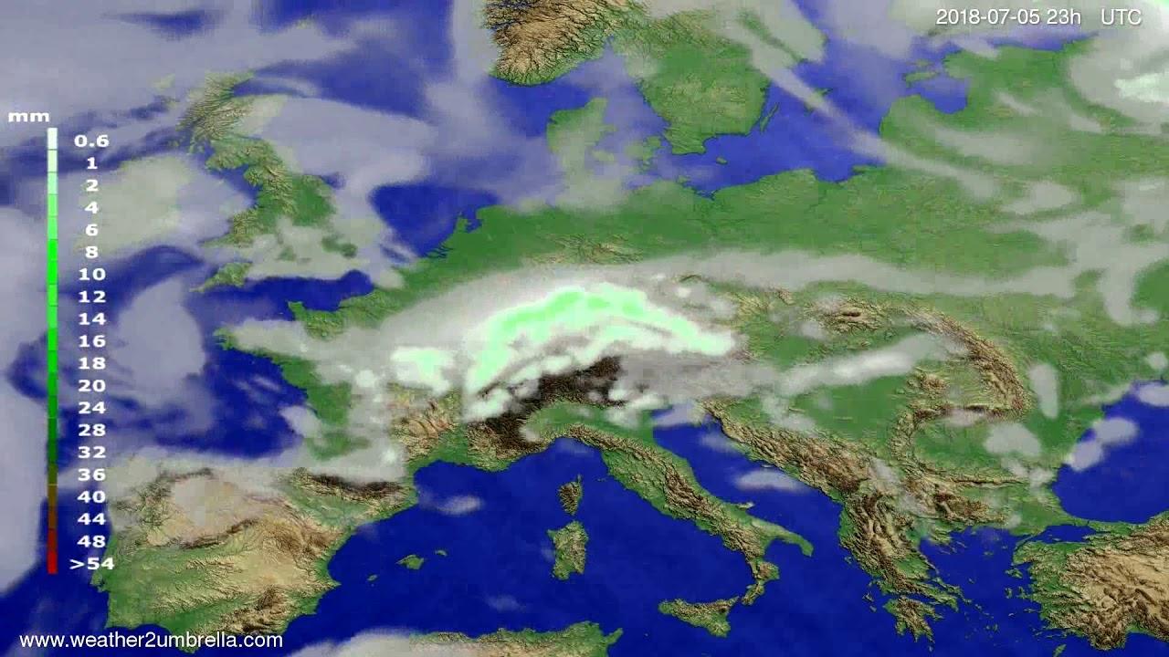 Precipitation forecast Europe 2018-07-02