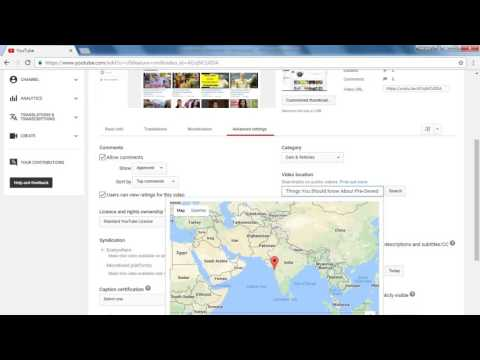 Youtube Beginners Guide To A Successful Channel - Advanced Settings and Location Tagging