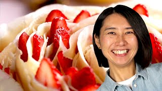 Here's How To Make Rie's Rose Crepe Cake Recipe by Tasty