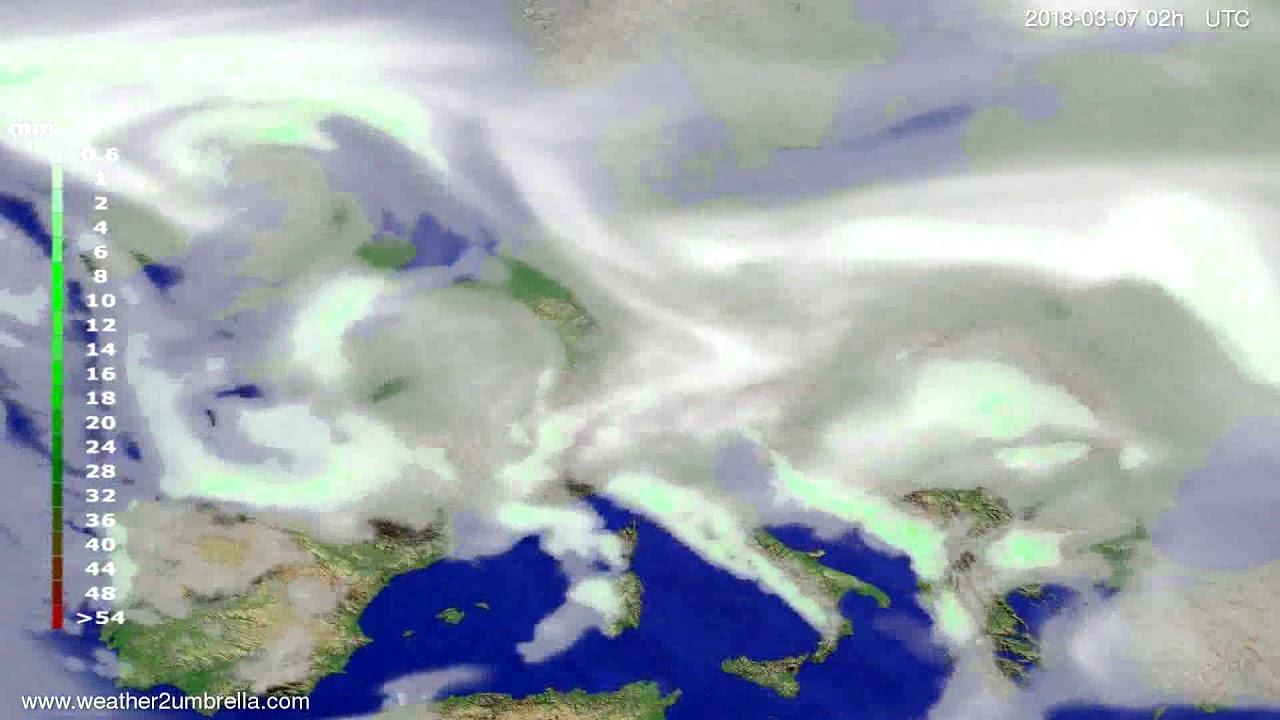 Precipitation forecast Europe 2018-03-03